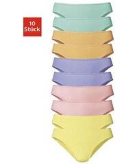 Große Größen: GO IN Bikinislips (10 Stück) im Sparpack, Je 2 uni lila + gelb + grün + orange + rosa, Gr.32/34-48/50