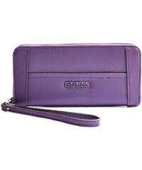 Guess Elegantní peněženka Delaney Large Zip-Around fialová