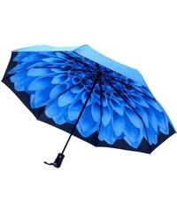 Blooming Brollies Dámský skládací plně automatický deštník Galleria Blue Dahlia GFFBD