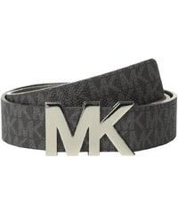 Michael Kors Dámský kožený opasek Reversible MK Signature Plaque Belt Black/Silver