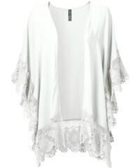 RAINBOW Kimono à dentelle blanc manches courtes femme - bonprix