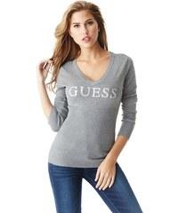 Guess Dámský šedý svetr Danae Beaded Logo Sweater