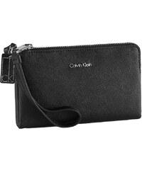 Calvin Klein Elegantní kožená peněženka Galey Saffiano Leather Wristlet Black