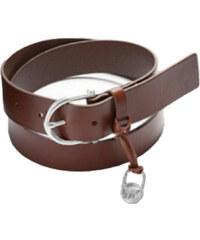 Michael Kors Dámský kožený opasek Braided Leather Belt Light Brown