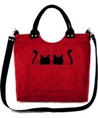 Lecharme Elegantní červená filcová kabelka EKO Excent Dvě kočky v kapse