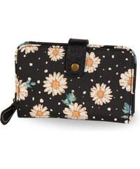 Candy Flowers Elegantní černá peněženka s květy a puntíky S180-357