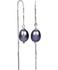 JwL Jewellery Stříbrné řetízkové náušnice s kovově modrou perlou JL0207