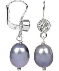 JwL Jewellery Stříbrné náušnice s kovově modrou perlou a krystalem JL0212