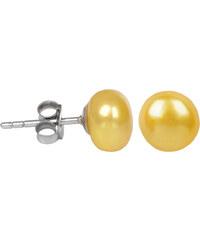 JwL Jewellery Stříbrné náušnice s pravou žlutou perlou JL0218