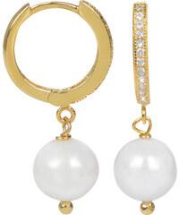 JwL Jewellery Zlacené stříbrné náušnice kroužky se zirkony JL0230