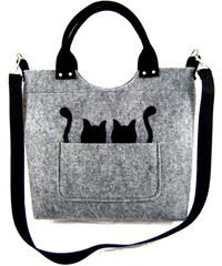 Lecharme Elegantní světle šedá filcová kabelka EKO Excent Dvě kočky v kapse
