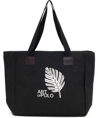 Art of Polo Černá nákupní taška Leaf tr16126.4