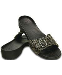 Crocs Dámské pantofle Crocs Sarah Leopard Sandal Black 203126-001