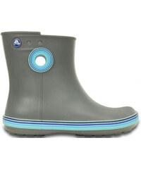 Crocs Dámské holínky Jaunt Stripes Shorty Boot Smoke/Cerulean Blue 202317-0v9