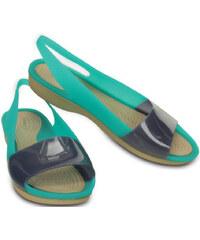 Crocs Dámské sandály Colorblock Flat Tropical Teal/Nautical Navy 200032-3l7