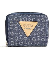 Guess Dámská modrá peněženka Aislin Small Denim Zip-Around Wallet