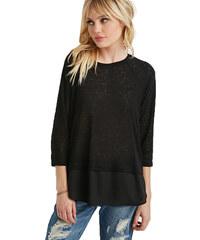 Forever 21 Dámský svetr Layered Split-Back Sweater - černý