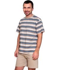 8f04e145f059 Regina Pánske bavlnené pruhované pyžamo 437 béžové M