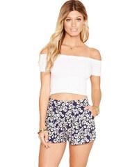 Forever 21 Dámské šortky Tie-Waist Floral Print Short fialové