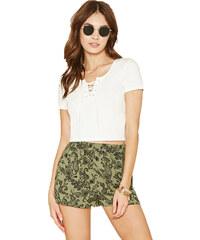 Forever 21 Dámské šortky Ornate Print Woven Shorts - zelené