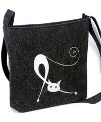 Lecharme Elegantní filcová crossbody kabelka EKO Protahující se kočka