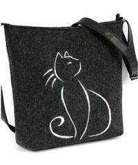 Lecharme Elegantní filcová crossbody kabelka EKO Sedící kočka
