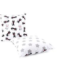 Dětský bavlněný polštář KOČKY bílá/bílá s hvězdami 40x40 cm, Mybesthome Varianta: Povlak na polštář, 40x40 cm