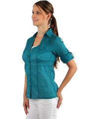 TopMode Bavlněná košile na knoflíky s tříčtvrtečním rukávem modrá