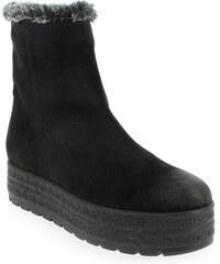 Boots Femme Kanna en Cuir velours Noir