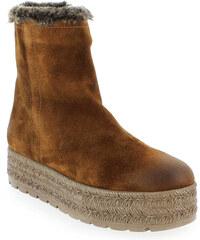 Boots Femme Kanna en Cuir velours Camel