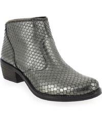 Boots Femme Kanna en Cuir Argent