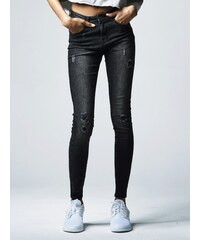 Urban Classics Ladies Ripped Denim Pants Black Washed TB1362