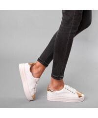 Lesara Plateau-Sneaker mit kupferfarbenen Metallic-Partien - 35