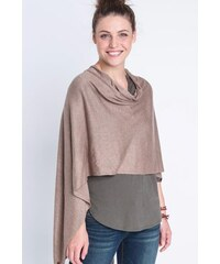 Poncho femme maille fine pompons Beige Coton - Femme Taille TU - Bonobo