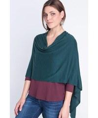 Poncho femme maille fine pompons Vert Coton - Femme Taille TU - Bonobo