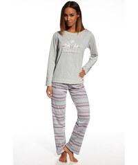 Cornette Dámské bavlněné pyžamo Snowflake šedá XL