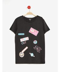 tee-shirt mix d'imprimés noir Jennyfer