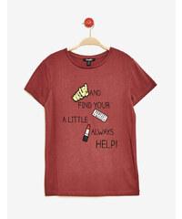 tee-shirt mix d'imprimés bordeaux Jennyfer