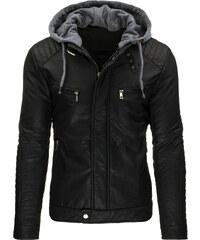 Coolbuddy Pánská bunda z ekologické kůže a odepínací kapucí 8982 Velikost: M