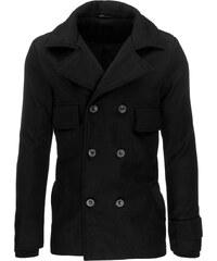 Pánský kabát s dvouřadovým zapínáním - černá Velikost: M