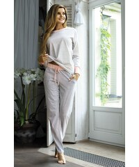 Babella Dámské bavlněné pyžamo Sweet šedobílá XL