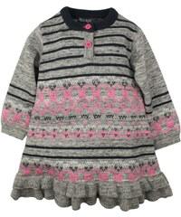 Dirkje Dívčí pletené šaty - šedo-růžové