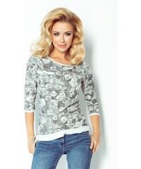 Numoco Dámské tričko - mikina 97-2 šedá rose