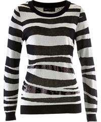 bpc selection Pullover mit Pailletten langarm in weiß für Damen von bonprix