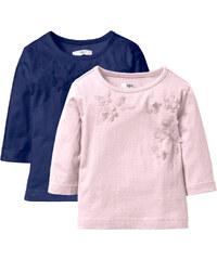 bpc bonprix collection Shirt mit Applikation (2er-Pack), Gr. 80/86-128/134 3/4 Arm in blau für Mädchen von bonprix