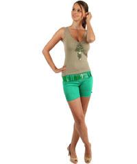 TopMode Stylové kraťasy se širokým páskem zelená