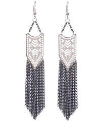Boucles d'oreilles pendantes frangées Gris Metal - Femme Taille T.U - Cache Cache