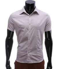 Re-Verse Slim Fit-Kurzarmhemd Unifarben - Hellgrau - S