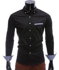 Re-Verse Button-down-Hemd mit schräger Brusttasche - Schwarz - S