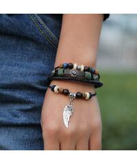 Lesara Leder-Armband mit Totenkopf & Flügelanhänger